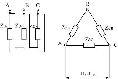 Схема соединения обмоток в треугольник