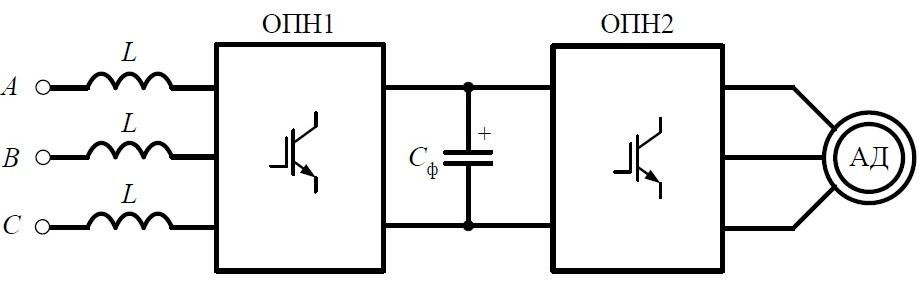 Схема рекуперирующего ДПЧ