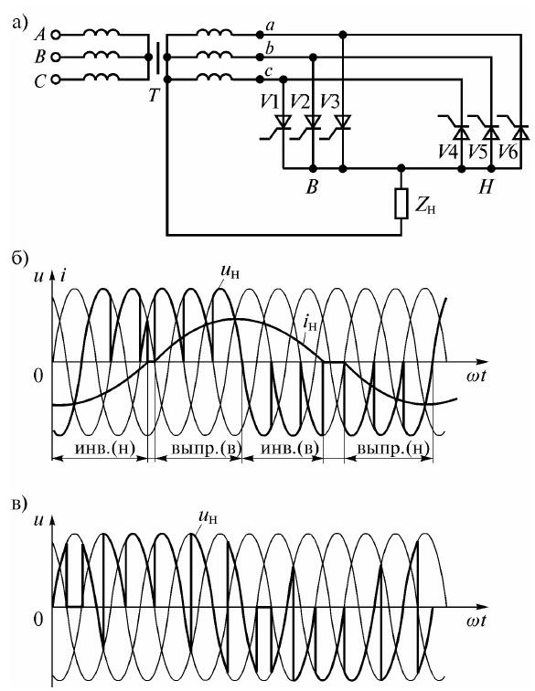 Схема трехфазно-однофазного НПЧ (а), диаграммы напряжения