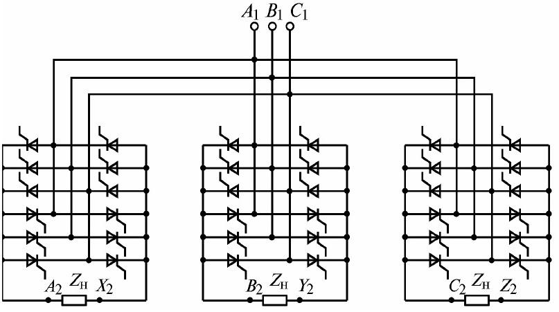 Схема трехфазно-трехфазного НПЧ