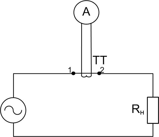 Включение амперметра через трансформатор тока