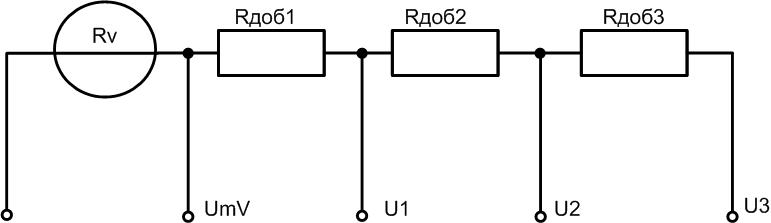 Схема включения вольтметра с добавочными сопротивлениями