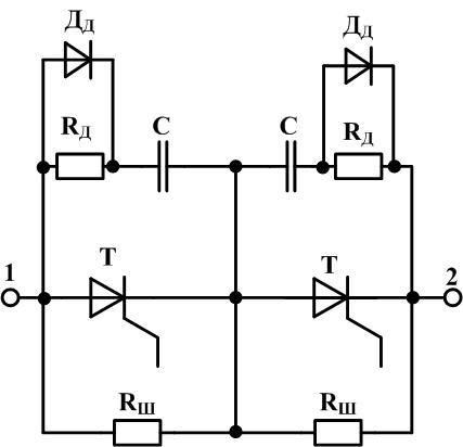 Последовательное включение тиристоров с шунтирующим резистором и RC цепью и демпфирующим диодом