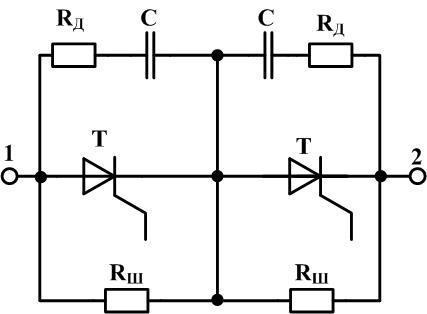 Последовательное включение тиристоров с шунтирующим резистором и RC цепью