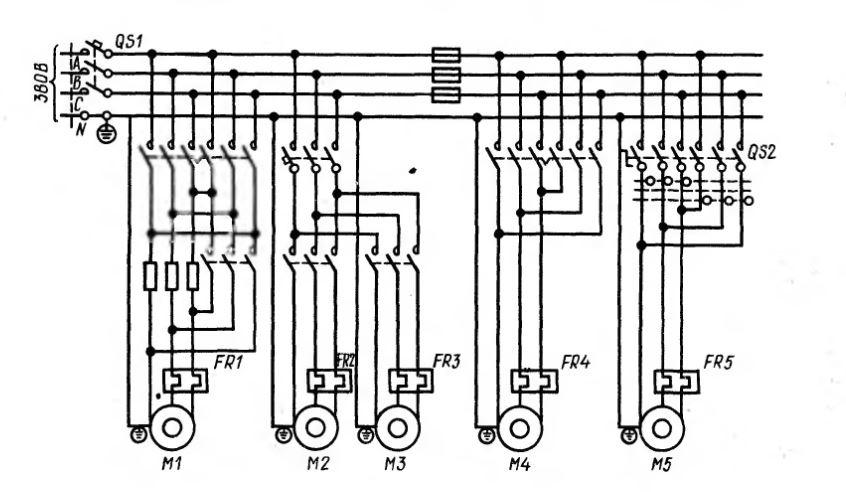 Рис. 1.1. Принципиальная электрическая схема силового электрообо¬рудования станка