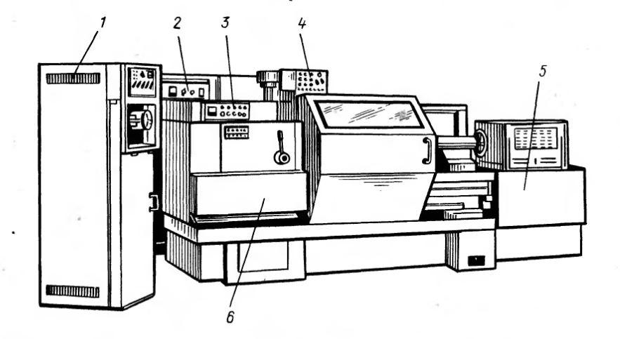 Рис. 1. Расположение основного электрооборудования на токарном станке 16К20ФЗ: