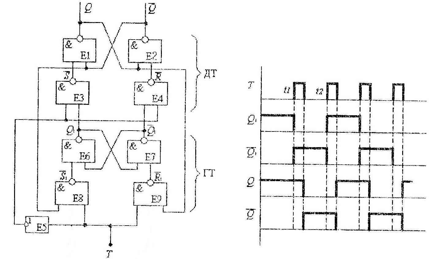 Схема Т триггера