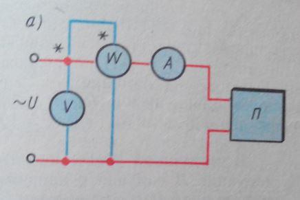 Схема метода вольметра амперметра ваттметра или косвенный метод