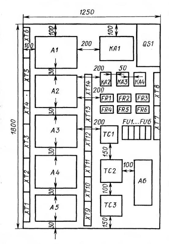 Рис. 1.2. Схема расположения элементов электрооборудования на панели станции управления