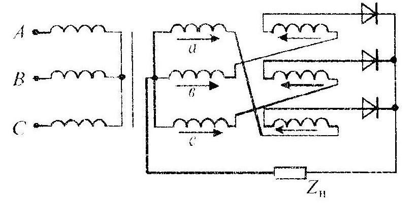 Схема соединения обмоток в зигзаг