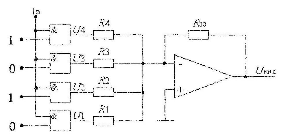 Схема цифро-аналогового преобразователя