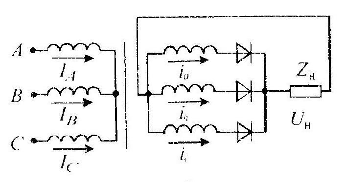 Трехфазная нулевая схема включения выпрямителя