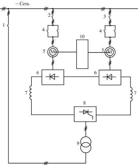 Схема асинхронно-вентильного каскада двух двигательного электропривода