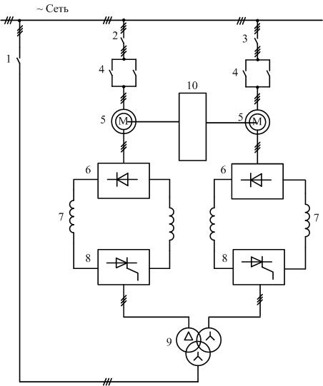 Схема асинхронно-вентильного каскада двух двигательного электропривода1
