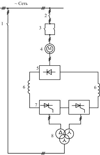 Схема асинхронно-вентильного каскада по схеме треугольник звезда