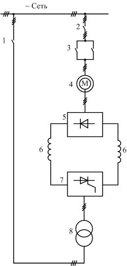 Схема асинхронно-вентильного каскада