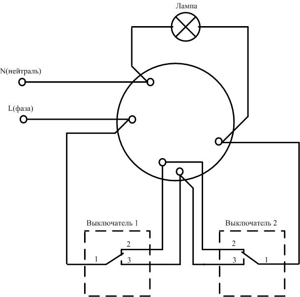 Схема подключения проходного выключателя через соединительную коробку