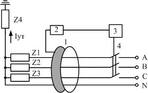 Трехфазное устройство защитного отключения схема