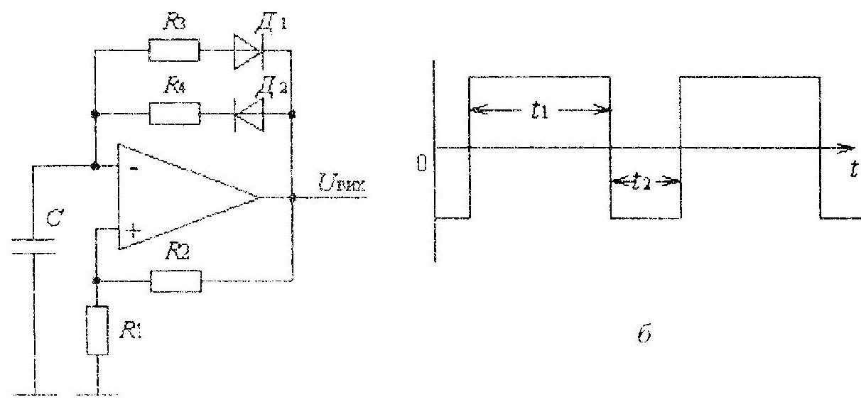Несимметричный мультивибратор схема