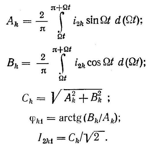 Данные для гармоник тока