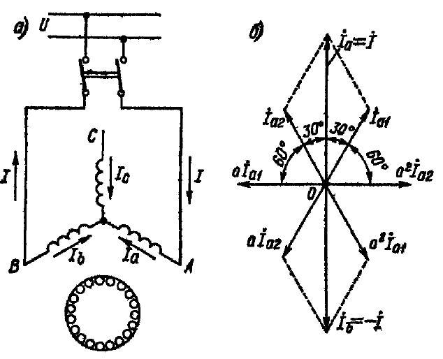 Схема и векторная диаграмма однофазного асинхронного двигателя