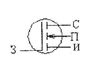 Схемное обозначение МДП транзистора с наведенным каналом