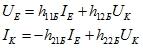 Формула напряжения и тока транзистора для соединения с общим коллектором