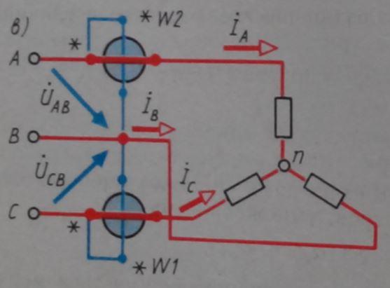 Схема подключения трехфазного ваттметра с без нулевого провода