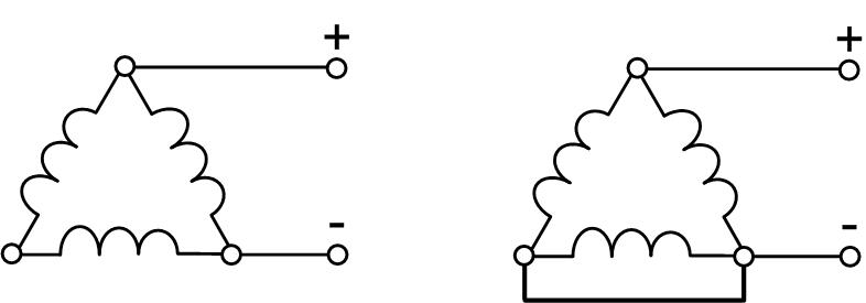 Соединение обмоток в треугольник при динамическом торможении асинхронной машины