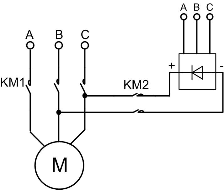 Схема динамического торможения асинхронного электродвигателя1