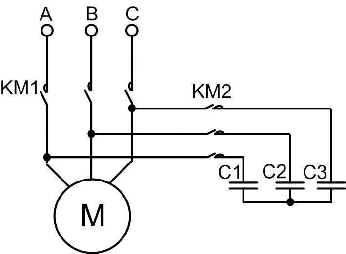 Схема конденсаторного торможения асинхронного электродвигателя1