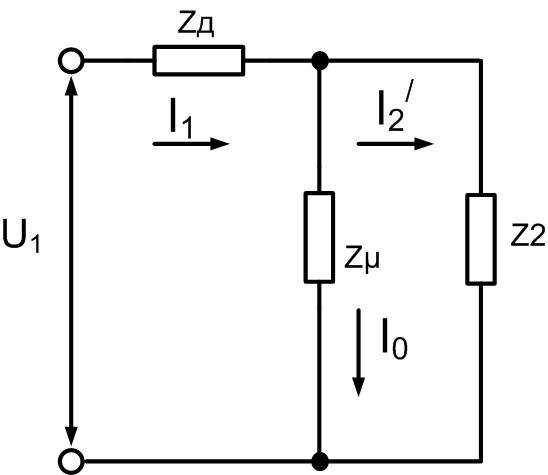 Упрощенная расчетная схема асинхронного двигателя с добавочным сопротивлением в цепи статора