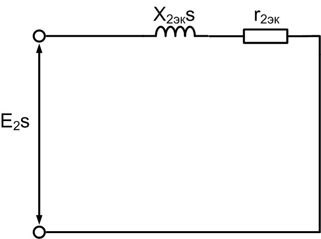 Упрощенная эквивалентная схема фазы асинхронной машины при наличии добавочных сопротивлений в цепи статора