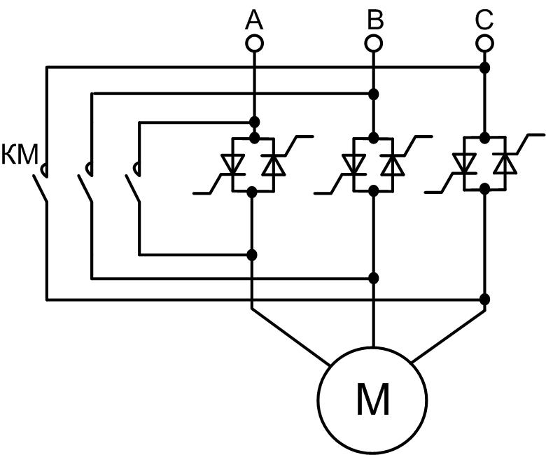 Устройство плавного пуска асинхронного электродвгателя с шунтирующим контактором