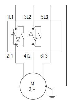 Устройство плавного пуска с регулированием по двум фазам