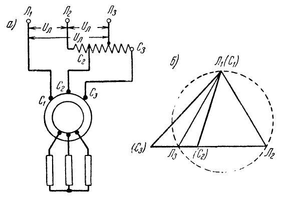Включение асинхронного электроодвигателя через автотрансформатор и его векторная диаграмма