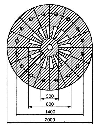 Разметка ветроколеса многолопасного ветродвигателя