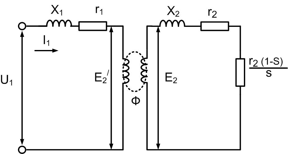 Эквивалентная схема асинхронной машины приведенная к неподвижному ротору