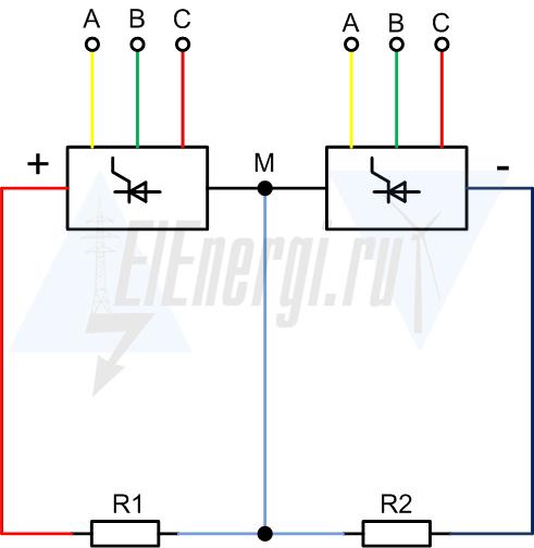 Цветовая маркировка шин при трехфазном подключении и подключении постоянным током