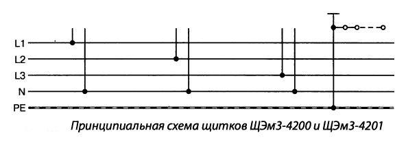 Принципиальная схема щитков ЩЭм4-4200 и ЩЭм3-4201