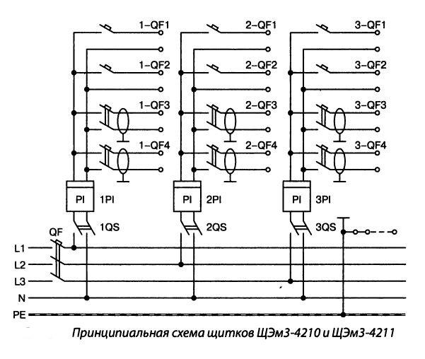 Принципиальная схема щитков ЩЭм4-4210 и ЩЭм3-4211