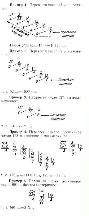 Примеры перевода в различные системы счисления