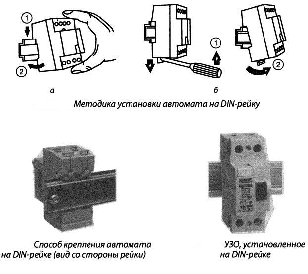 Способы крепления электрооборудования на DIN-рейку
