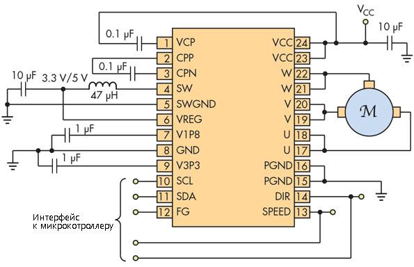 Схема управления низковольтным бесколлекторным электродвигателем и использованием драйвера  DRV10983