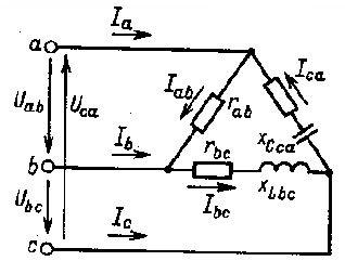 sxema-soedineniya-nesimmetrichnoj-nagruzki-elektropriemnikov-v-treugolnik