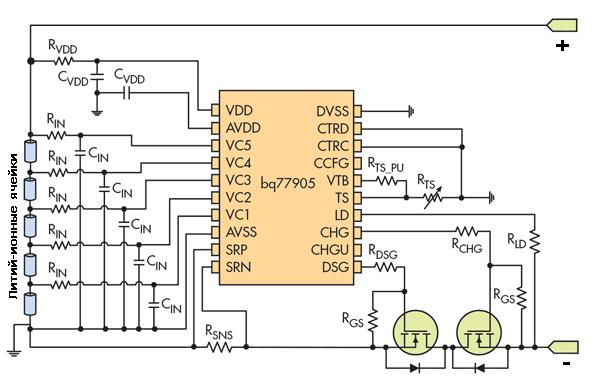 Контроль ячеек литий-ионных аккумуляторов с использованием bq77905 и внешних транзисторов