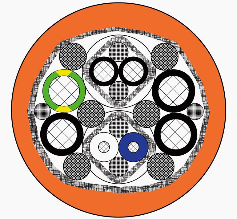 Пример объединения кабелей силовых и цепей управления в одном корпуса благодаря экранированию