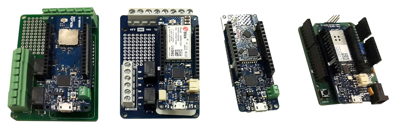 На снимке слева направо находятся плата LoRa, плата GSM, плата Sigfox и плата Wi-Fi