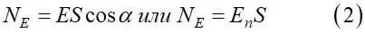 В случае плоской поверхности и однородного поля поток вектора Е через площадь S или же ее проекцию S