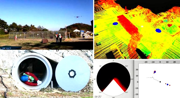 Имитация жертвы бедствия, нуждающаяся в спасении, найдена среди щебня (глиняная труба) с помощью аудио (голоса и свистки). Синие круги на карте (вверху справа) указывают обнаруженные местоположения источника звука